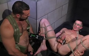 Tiedup cbt bottom acquires electro carry on non-native hunk
