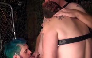 Barebacked obese threeway jackanapes takes cock ATM
