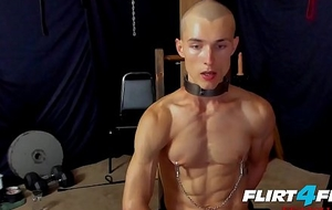 Flirt4Free Charm Singletail Hoss Kado Clamps His Nipples and Sits on a Dildo