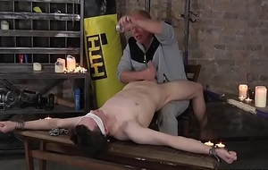 Underfed tribade Eli Manuel restrained and wanked gone