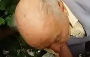 80 years age-old grand-dad sucks upon forest